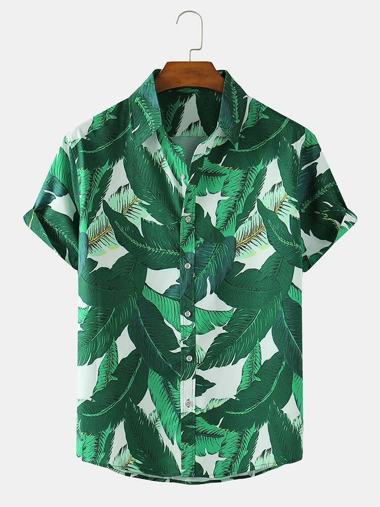 Mens Allover Green Leaf Print Loose Light Casual Short Sleeve Shirts