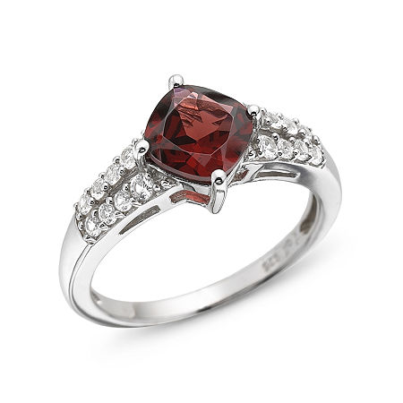 Genuine Garnet & Lab-Created White Sapphire Sterling Silver Ring, 7 , No Color Family