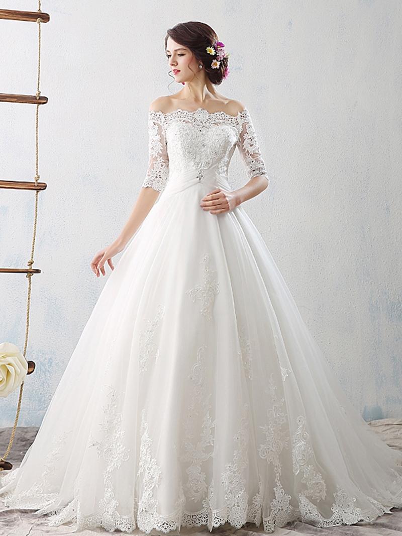 Ericdress Off The Shoulder Appliques Half Sleeves Wedding Dress