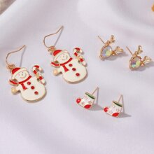 3pairs Christmas Snowman Earrings