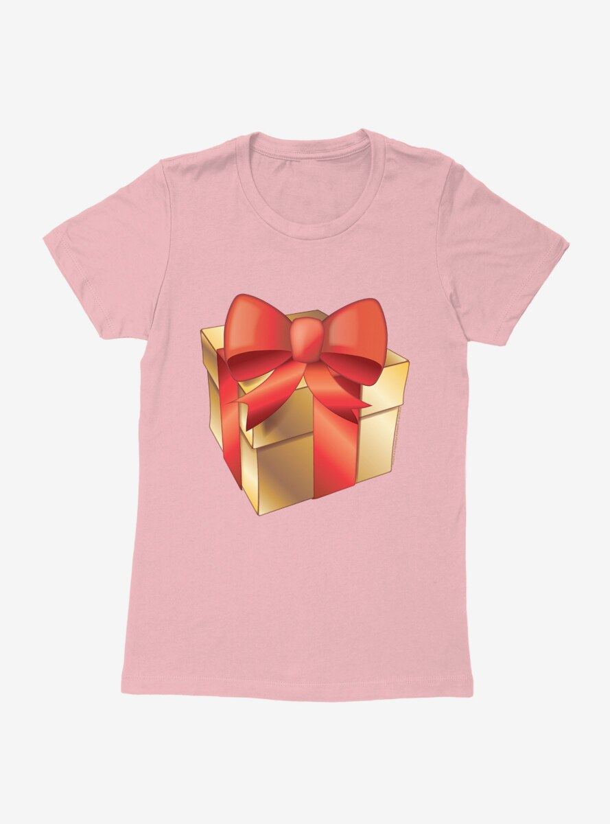 Emoji Holiday Icons Red Ribbon Gold Present Womens T-Shirt