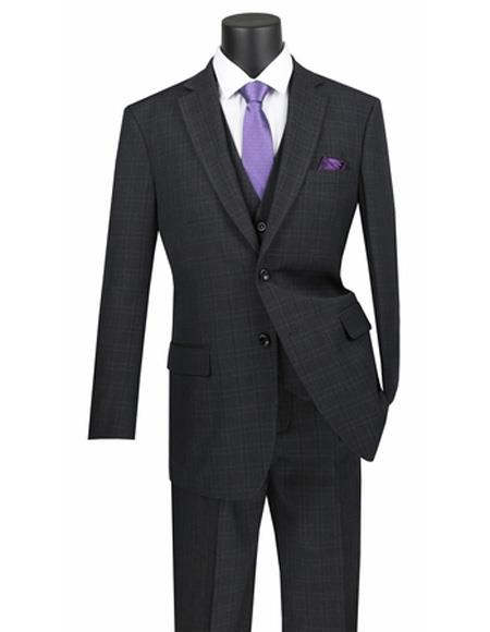 Plaid ~ Window Pane 2 button Vested 3 Piece Suit Regular Fit Black