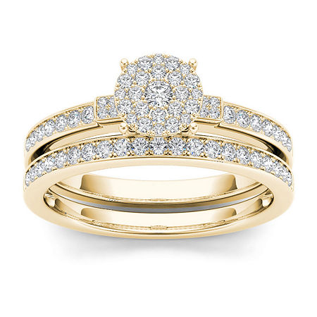 1/2 CT. T.W. Diamond Cluster 10K Yellow Gold Bridal Ring Set, 8 , No Color Family