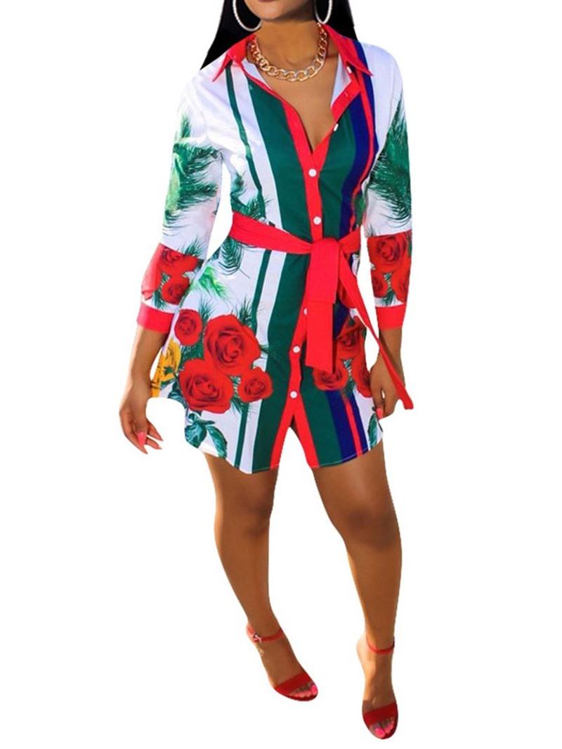 Ericdress Floral Long Sleeve Belt Asymmetric Bodycon Dress