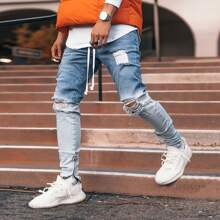 Men Drawstring Waist Ripped Ombre Jeans
