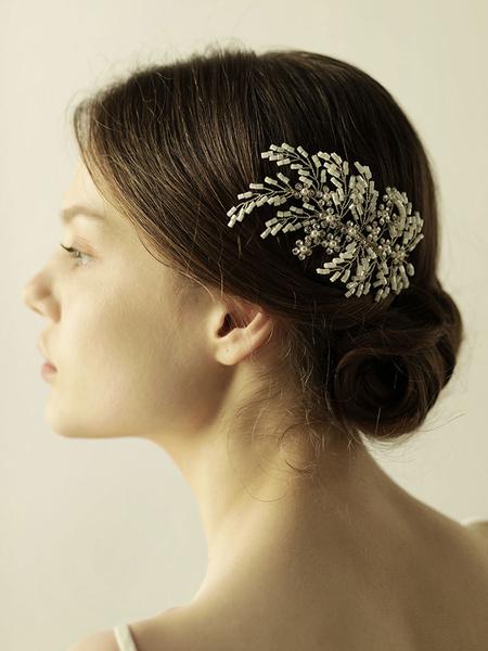 Milanoo Peinetas de boda de plata peine peinar accesorios de pelo nupcial
