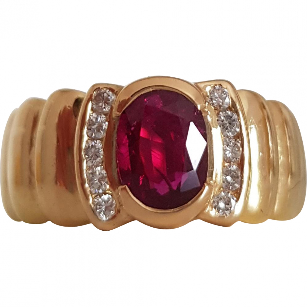 Non Signe / Unsigned Rubis Ring in  Rot Gelbgold