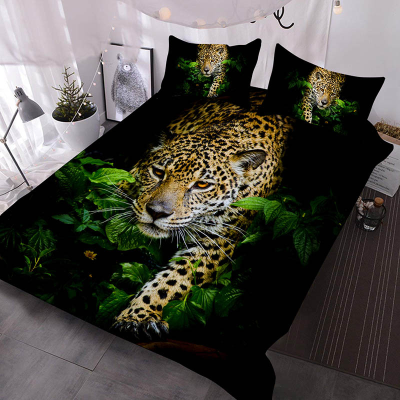 Leopard in Bush 3Pcs Bedding Down Comforter Insert with 2 Pillow Covers Colorfast Comforter Quilt Set Breeze Bedding Sets