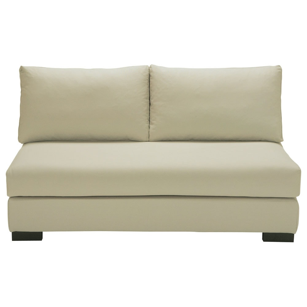 Modulare 2-Sitzer Polsterbank aus Baumwolle, graubeige Terence