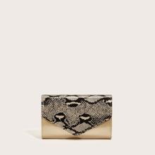 Snakeskin Print Flap Chain Bag