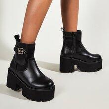 Buckle Decor Chunky Heeled Platform Ankle Boots