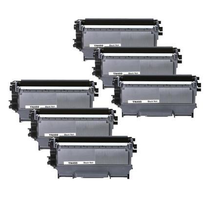 Compatible Brother TN-450 Black Toner Cartridge - Economical Box - 6/Pack