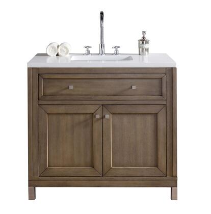 Chicago Collection 305-V36-WWW-3CLW 36 Single Vanity  Whitewashed Walnut  with 3 CM Classic White Quartz Top with
