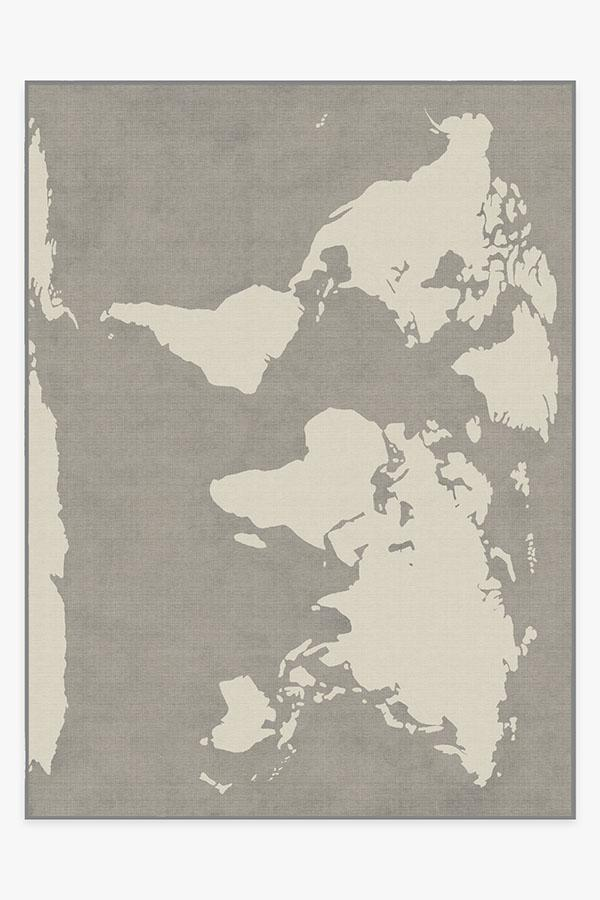 Washable Rug Cover & Pad | World Map Charcoal Rug | Stain-Resistant | Ruggable | 9'x12'