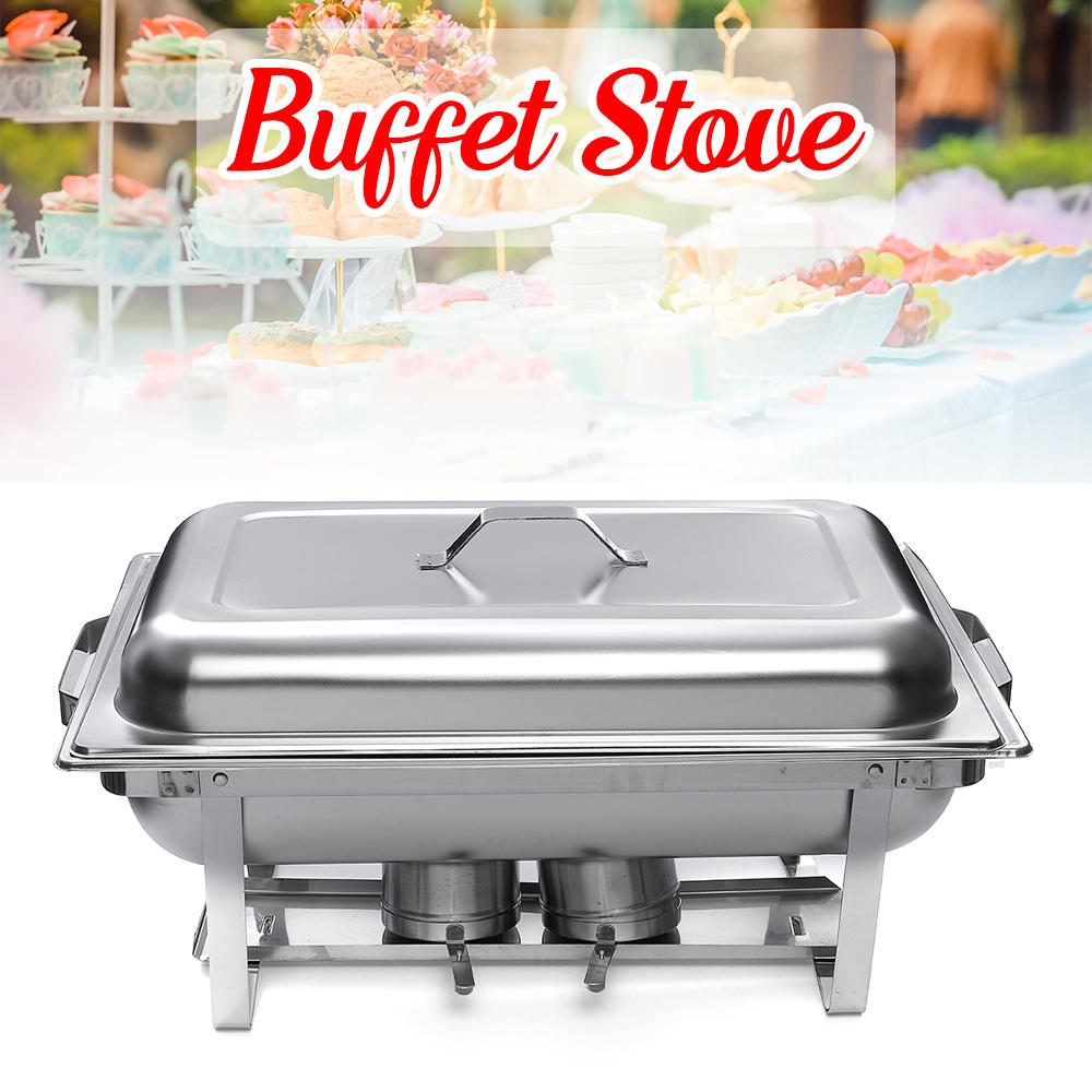 9L A set Buffet Stove of Two Plates Variable heat control Food Warmer Storage Decor Decorations For Wedding Party Cantee