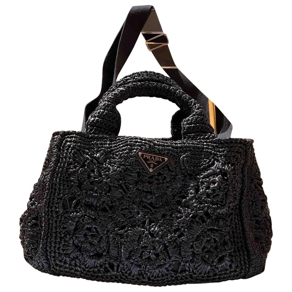 Prada \N Handtasche in  Schwarz Stroh