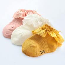 3pairs Baby Lace Trim Socks