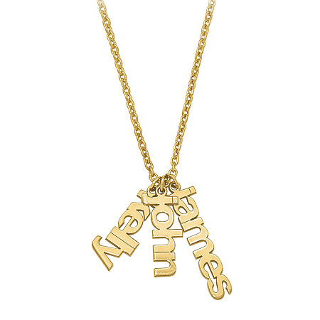Personalized Three Name Charms Pendant Necklace, One Size , Yellow