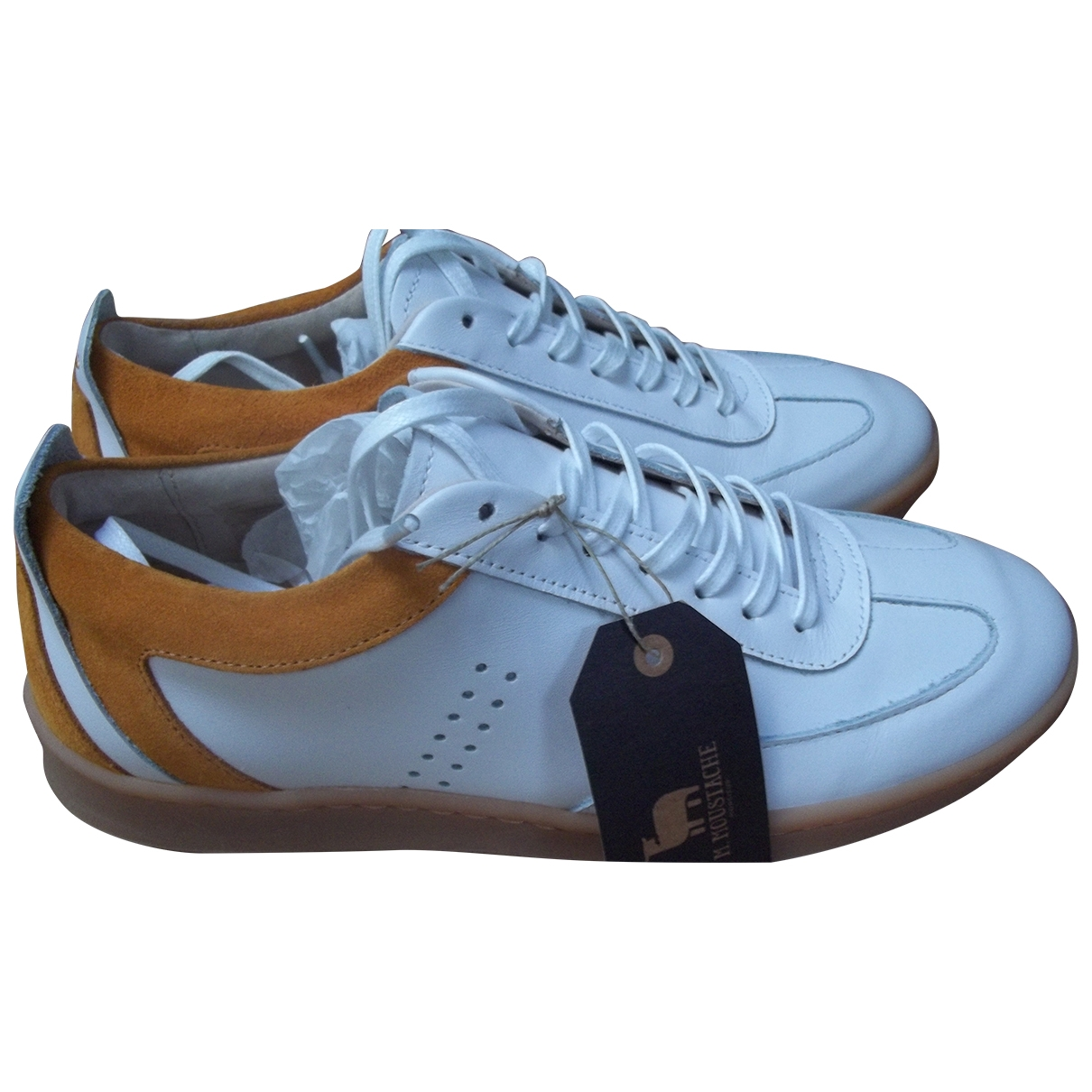 Monsieur Moustache \N White Leather Trainers for Men 39 EU