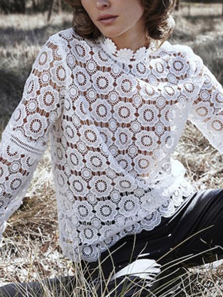 Yoins White Lace Round Neck Zip Back Fasten design Blouse