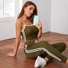 Striped Side Contrast Trim Sports Cami Top With Sweatpants