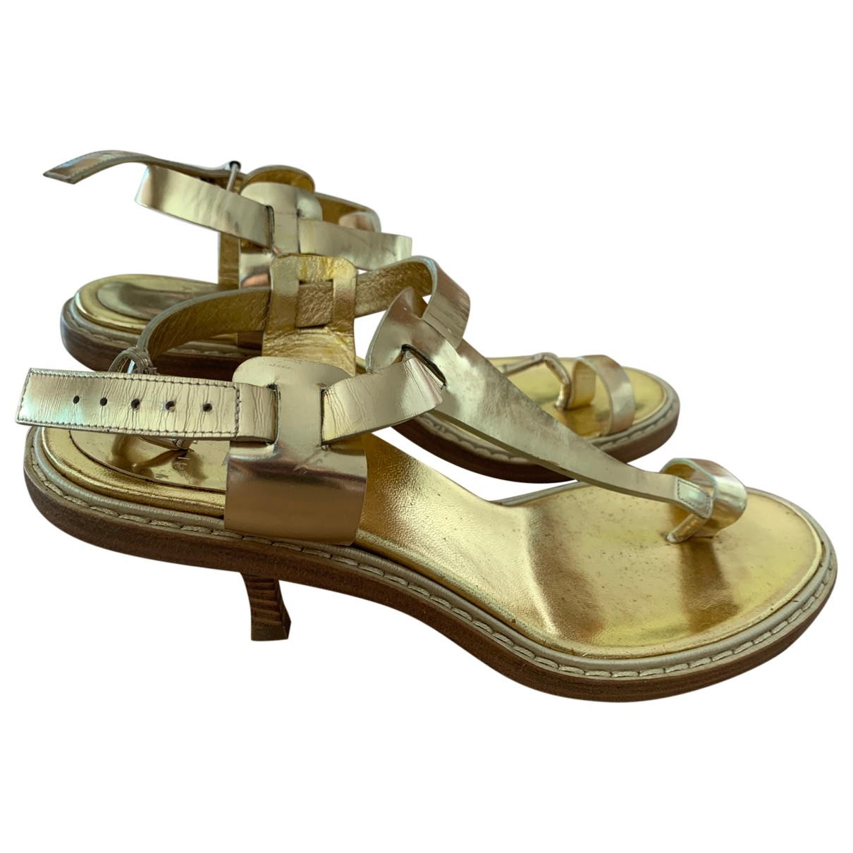 Givenchy \N Gold Leather Sandals for Women 38 IT