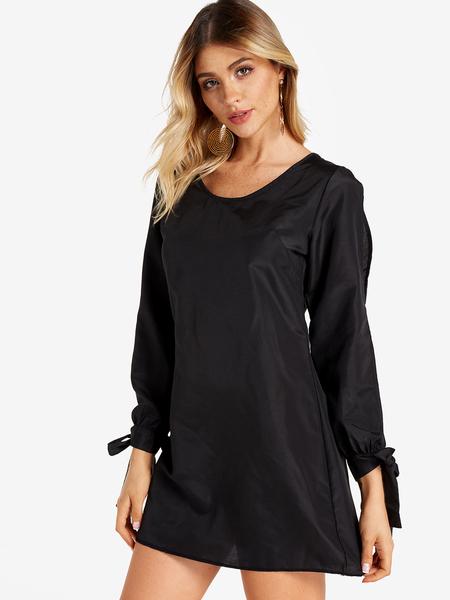 Yoins Black Self-tie Design Cold Shoulder Long Sleeves Dress