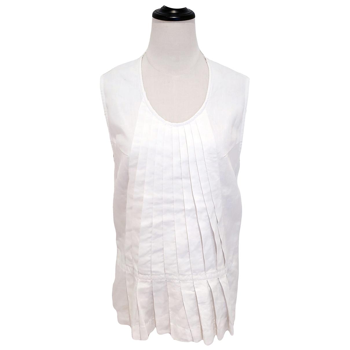45rpm - Top   pour femme en lin - blanc