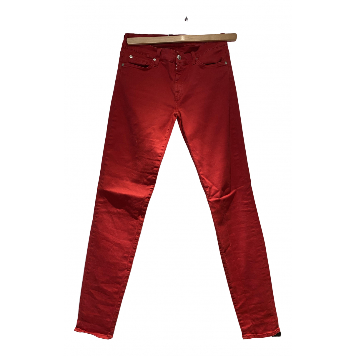 7 For All Mankind N Red Cotton Trousers for Women 8 UK