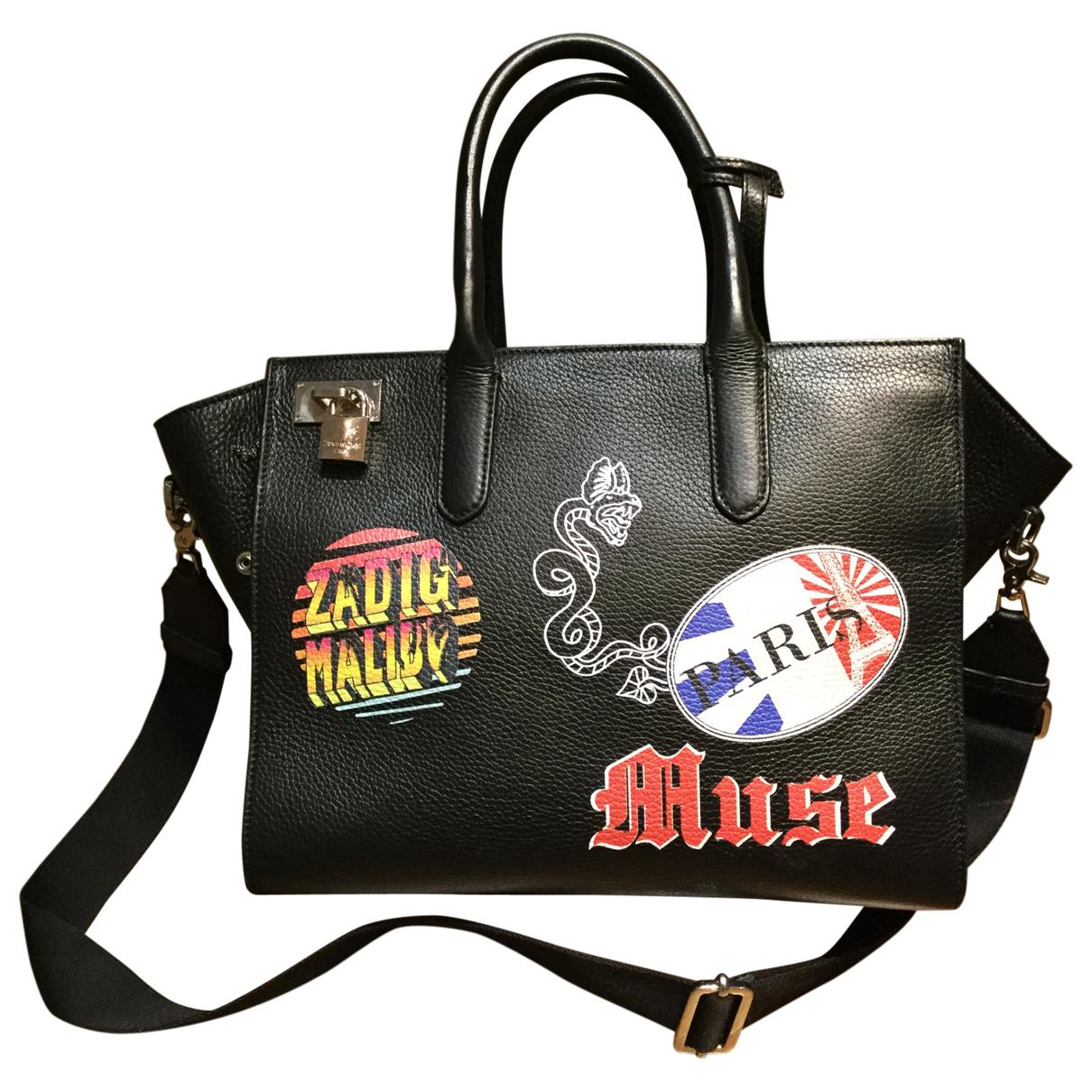 Zadig & Voltaire Rock Handtasche in  Schwarz Leder