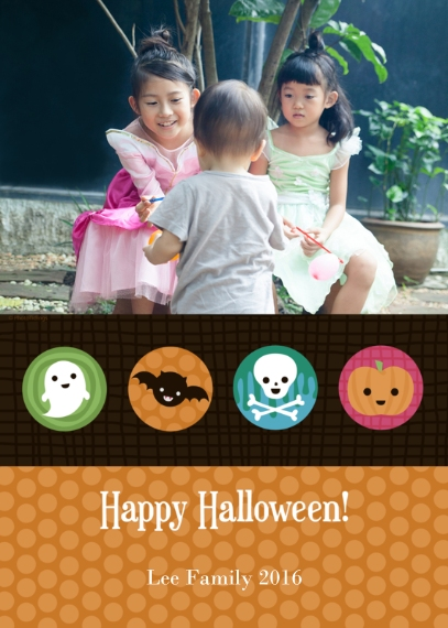Halloween Photo Cards 5x7 Folded Cards, Premium Cardstock 120lb, Card & Stationery -Spooky Characters