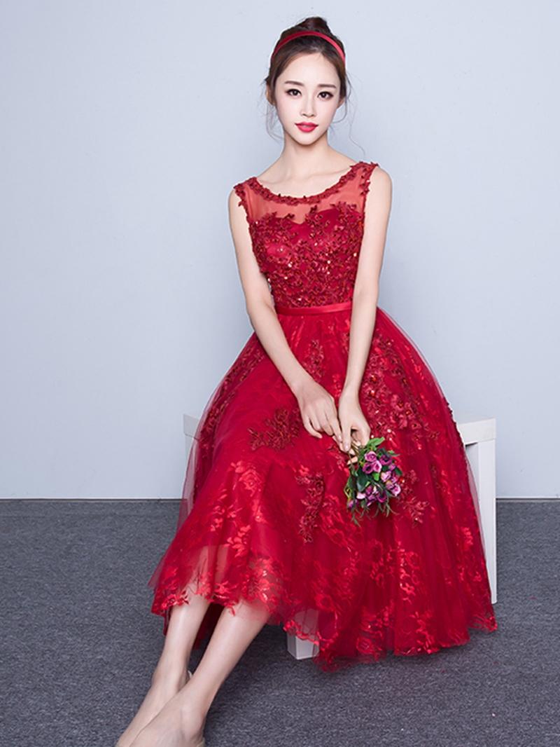 Ericdress Scoop Neck Lace Sequins Tea-Length Cocktail Dress