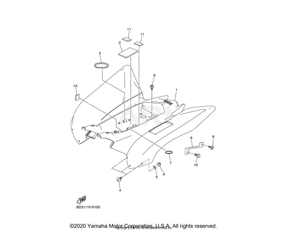 Yamaha OEM BD3-F1600-00-00 REAR FENDER ASSY