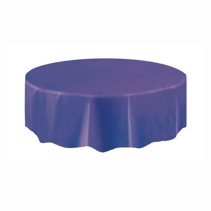 Plastic Table Cover Round, Deep Purple 84
