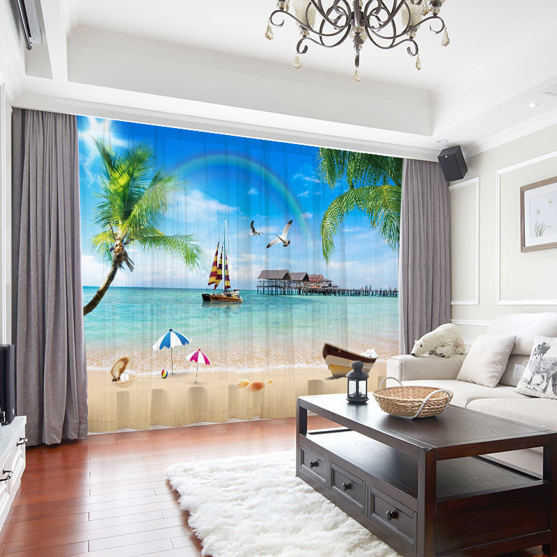 3D Beach Landscape Decoration 2 Panels Sheer Curtains for Living Room 30% Shading Rate No Pilling No Fading No off-lining