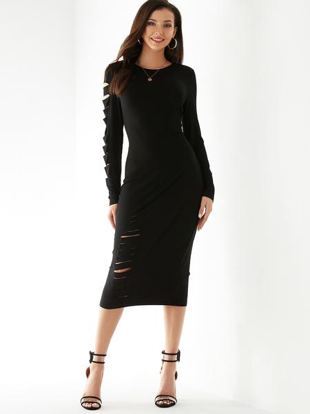 YOINS Black Round Neck Ripped Design Long Sleeves Dress