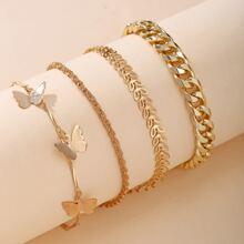 4 piezas pulsera tobillera de cadena colgante de mariposa