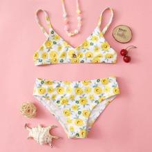 Girls Flower Print Bikini Swimsuit