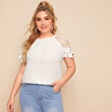 Plus Frilled Neck Guipure Lace Raglan Sleeve Top