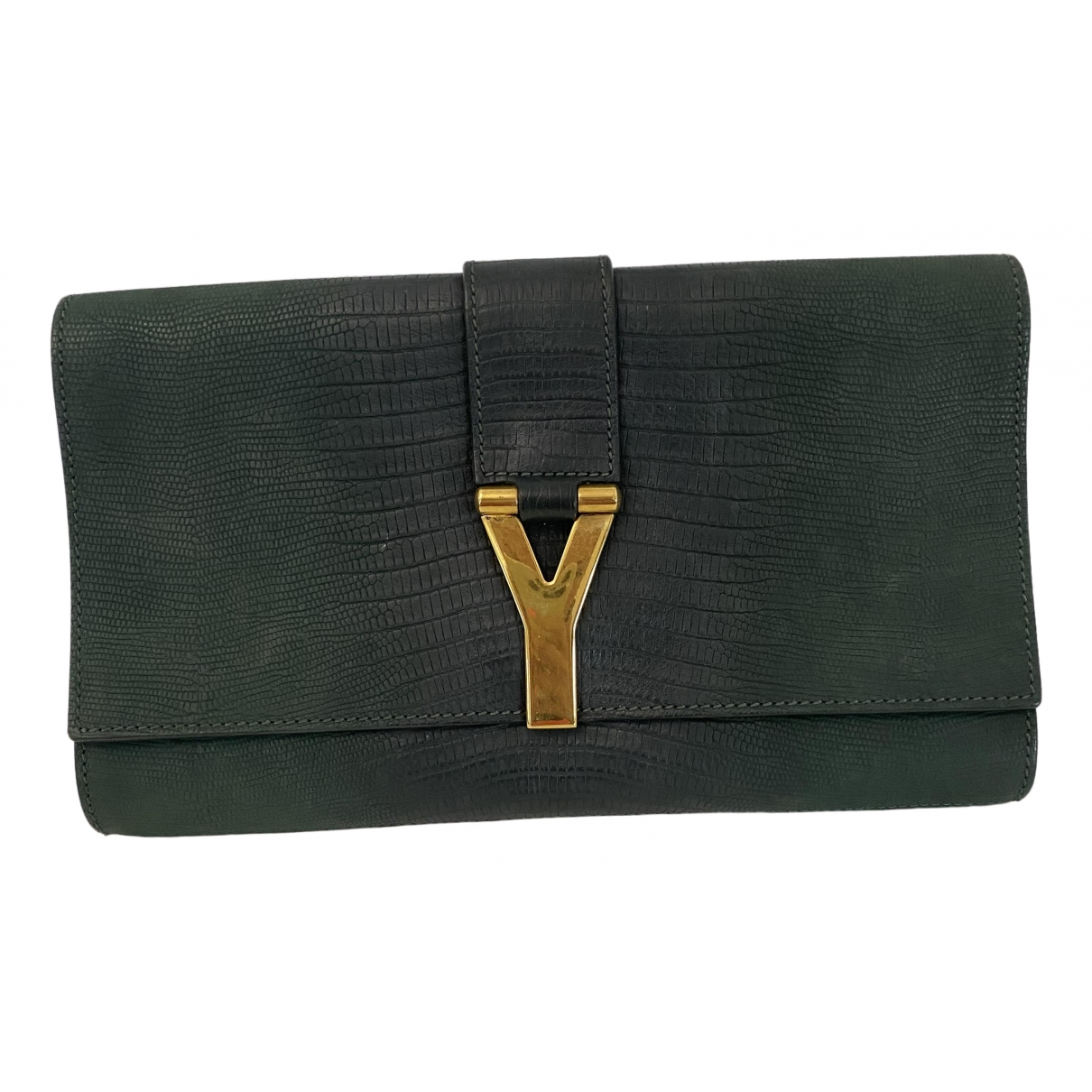 Yves Saint Laurent Chyc Green Suede Clutch bag for Women \N