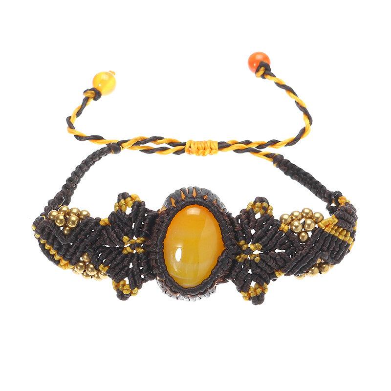 Women's Ethnic Bracelet Retro Agate Weave Rope Bracelet