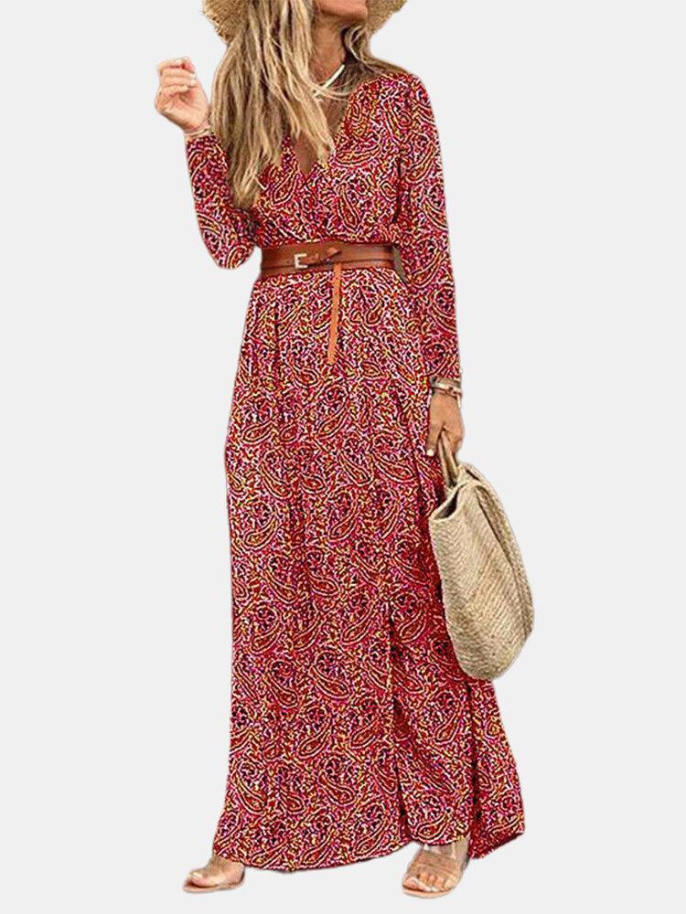 Long Sleeve Print V-neck Bohemian Maxi Dress For Women