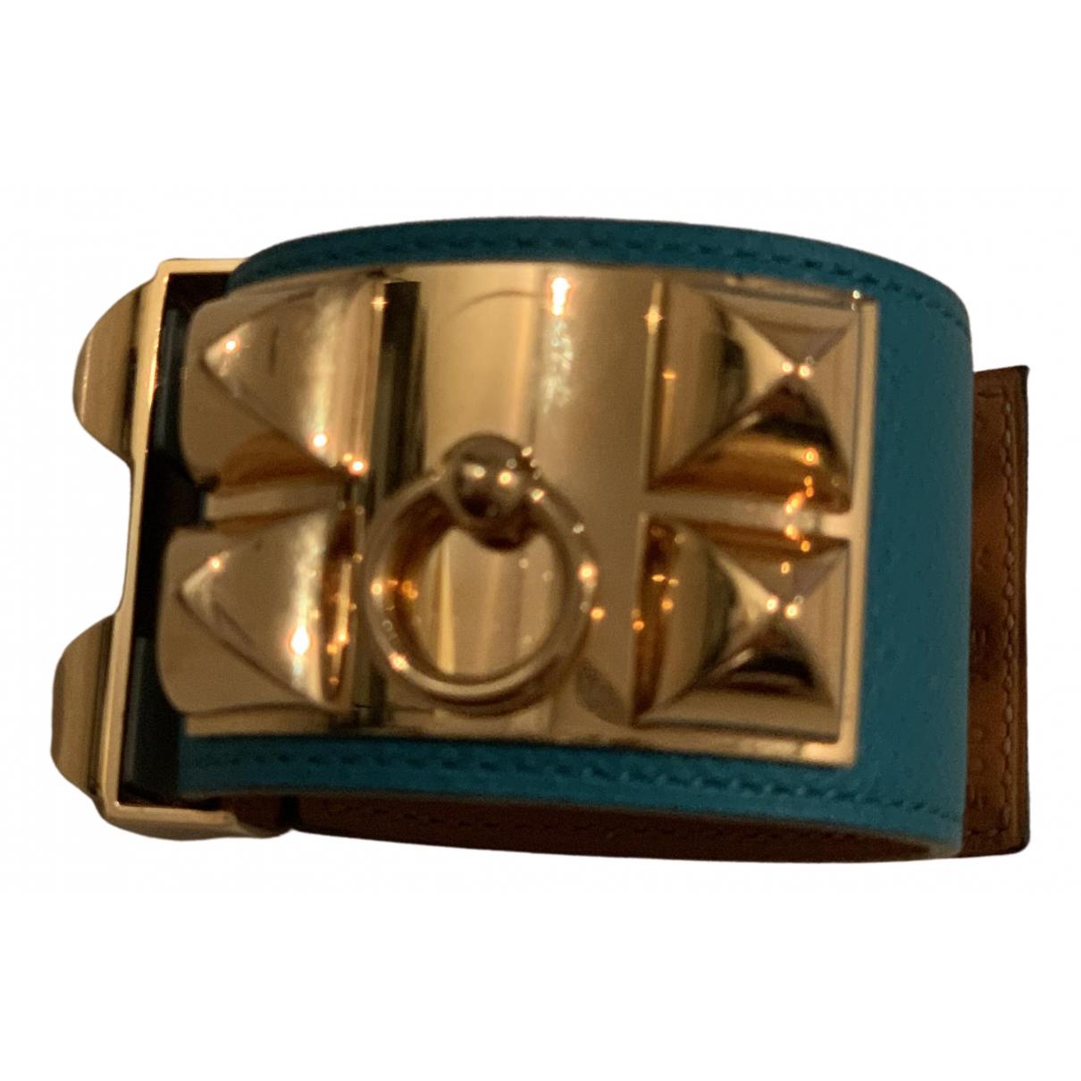Hermes Chaine dAncre Armband in  Tuerkis Leder