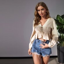 Ruched Bust Tie Front Peplum Top