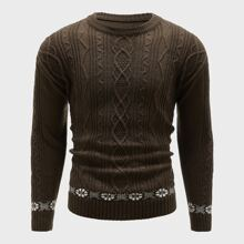 Pullover mit Geometrie Muster und Zopfmuster
