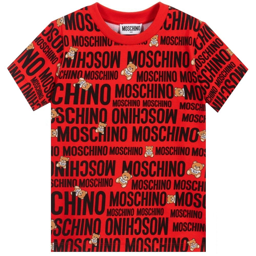 Moschino Bear T-shirt Colour: RED, Size: 10 YEARS