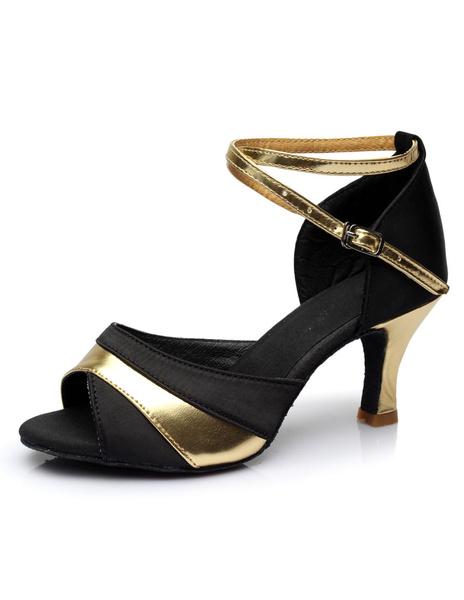 Milanoo Two-Tone Latin Dance Sandals Straps Satin Heels