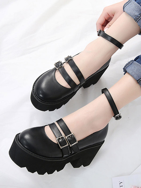 Milanoo Classic Lolita Footwear Metallic Buckle Platform Black Lolita Shoes