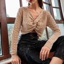 Strick Pullover mit Twist vorn und Pointelle