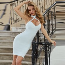 Sesidy Zip Back Cut Out Halter Dress